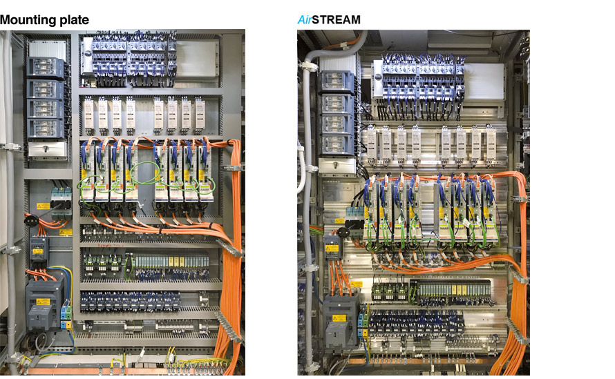Figure 1: A look inside the control cabinet test setup at Audi Hungaria in Györ: with an AirSTREAM wiring frame (left) and conventional mounting plate (right).